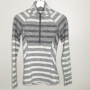 Lululemon Grey Striped Race Your Pace 1/2 Zip